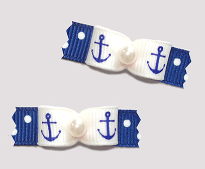 "#T9443 - 3/8"" Dog Bow - Cute Little Anchors, Blue/White Dots"