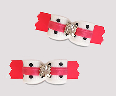 "#T9444 - 3/8"" Dog Bow - Chic Diva Dots on Hot Pink, Rhinestone"