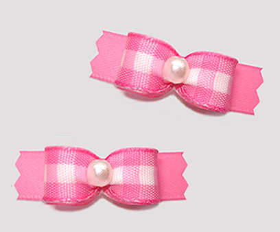 "#T9445 - 3/8"" Dog Bow - Sweet Pink Gingham"