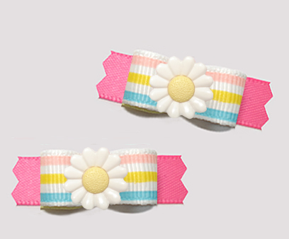 "#T9447 - 3/8"" Dog Bow - Sweet Spring Daisy, Pastel Stripes/Pink"