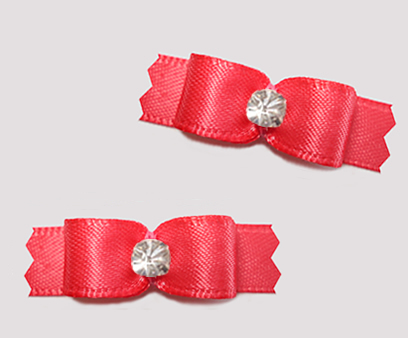 "#T9448 - 3/8"" Dog Bow - Satin, Coral Red with Rhinestone"
