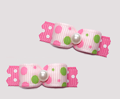 "#T9449 - 3/8"" Dog Bow - Pink/Lime Bubble Dots on Pink/White"