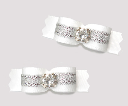 "#T9450 - 3/8"" Dog Bow - Angelic White with Silver, Rhinestone"