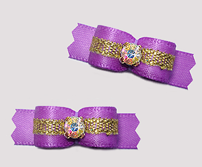 "#T9451 - 3/8"" Dog Bow - Orchid Purple/Sparkly Gold, Rhinestone"