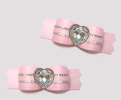 "#T9453 - 3/8"" Dog Bow - Precious Baby Pink/Silver, Bling Heart"