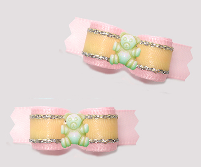 "#T9455 - 3/8"" Dog Bow - Sweet Teddy Bear, Baby Pink/Yellow"