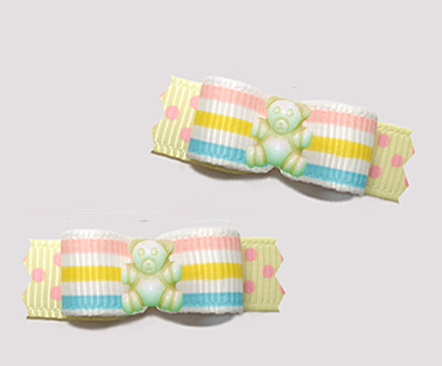 "#T9456 - 3/8"" Dog Bow - Baby Sweet Teddy, Pastel Stripes 'n Dots"