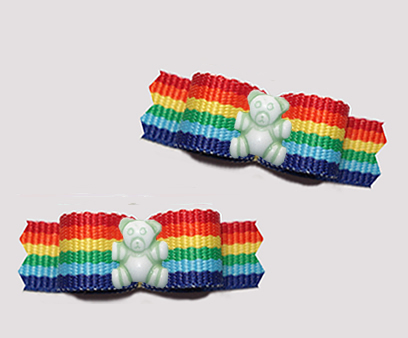"#T9457 - 3/8"" Dog Bow - Tiny Teddy Bear, Bright Rainbow Stripes"