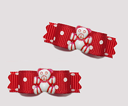 "#T9458 - 3/8"" Dog Bow - Tiny Teddy, Sweet Red/White Dots/Stitch"