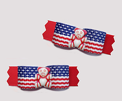 "#T9459 - 3/8"" Dog Bow - Patriotic Teddy, Stars & Stripes on Red"