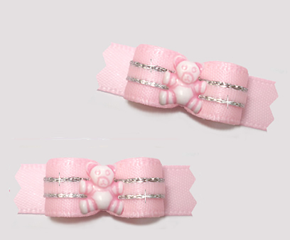 "#T9460- 3/8"" Dog Bow - Precious Teddy, Baby Pink/Touch of Silver"