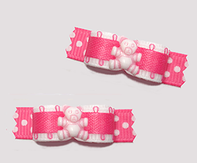 "#T9461 - 3/8"" Dog Bow - Tiny Teddy Bear Dots, Pretty Pink"