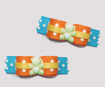 "#T9463- 3/8"" Dog Bow - Delightful Dots Teddy, Orange/Blue/Yellow"