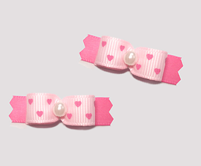 "#T9464 - 3/8"" Dog Bow - Baby Pink on Pink, Tiny Hearts"