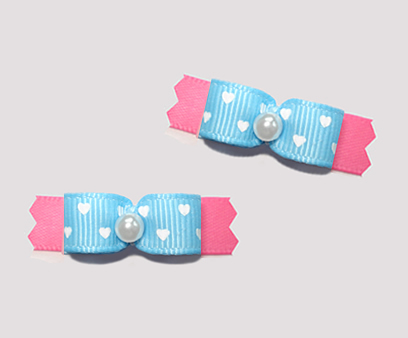 "#T9465 - 3/8"" Dog Bow - Baby Blue on Pink, Tiny Hearts"