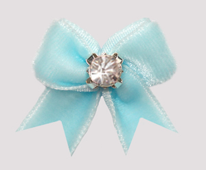 #VEL001 - Velvet Mini Dog Bow with Rhinestone Powder Blue