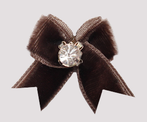 #VEL002 - Velvet Mini Dog Bow with Rhinestone Chocolate Brown