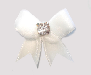 #VEL003 - Velvet Mini Dog Bow with Rhinestone Angelic White