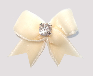 #VEL006 - Velvet Mini Dog Bow with Rhinestone Rich Cream