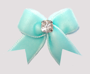 #VEL008 - Velvet Mini Dog Bow with Rhinestone Awesome Aqua