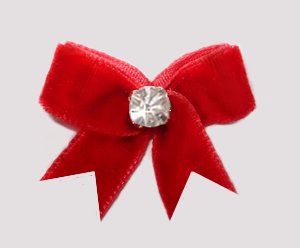 #VEL020 - Velvet Mini Dog Bow with Rhinestone Classic Red