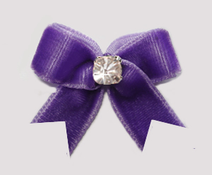 #VEL040 - Velvet Mini Dog Bow with Rhinestone Pretty Purple