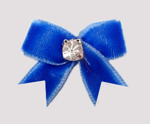 #VEL050 - Velvet Mini Dog Bow with Rhinestone Beautiful Blue