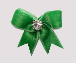 #VEL060 - Velvet Mini Dog Bow with Rhinestone Gorgeous Green