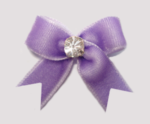 #VEL070 - Velvet Mini Dog Bow with Rhinestone Lovely Lavender