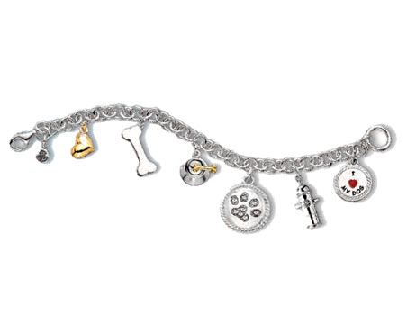 #J9538 - Rhodium Plated Dog Lover Bracelet