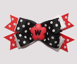 #BTQM947 - Mini Boutique Dog Bow Delightful Dots, Black/Red