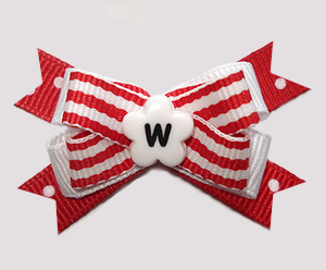 #BTQM949- Mini Boutique Dog Bow Nautical Stripes 'n Dots, Red