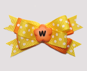 #BTQM951 - Mini Boutique Dog Bow Sunny Yellow/Tropical Orange