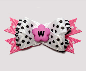 #BTQM952 - Mini Boutique Bow Chic Dots, Blk/White w/Hot Pink