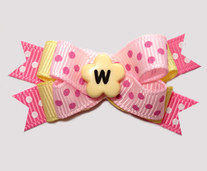 #BTQM954 - Mini Boutique Dog Bow Baby Sweet Dots, Pink/Yellow