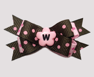 #BTQM958 - Mini Boutique Dog Bow Chocolate/Strawberry Dots