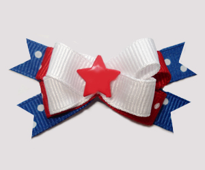 #BTQM959 - Mini Boutique Bow Patriotic Star, Red/White/Blue