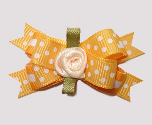 #BTQM960 - Mini Boutique Dog Bow Simply Peachy Dots, Rosette