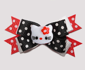 #BTQM972- Mini Boutique Dog Bow Hello Little Kitty, Cute Dots