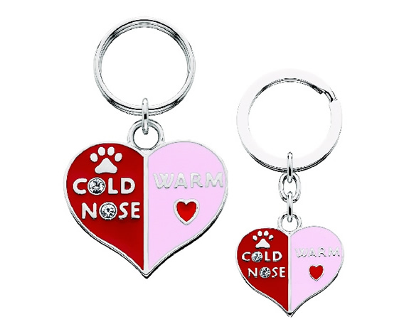 Key Chain/Collar Charm Set - Cold Nose/Warm Heart