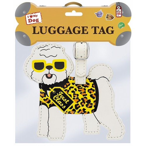 #LTBF - Leather Luggage Tag - Bichon Frise