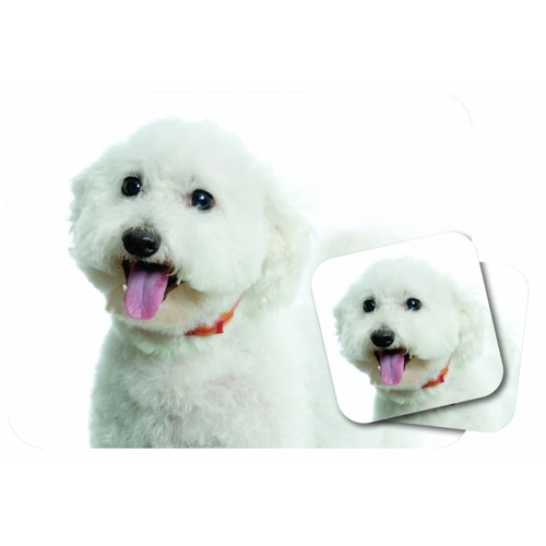 Mousepad and Coaster Set, Bichon Frise