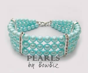 #213PRLA - Pearl Dog Necklace w/Rhinestones Aqua / Small